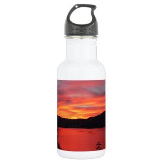 Sonnenuntergang im See und in den Mountain Viewen Edelstahlflasche