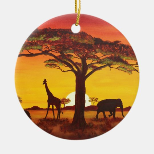 Sonnenuntergang in Afrika Keramik Ornament