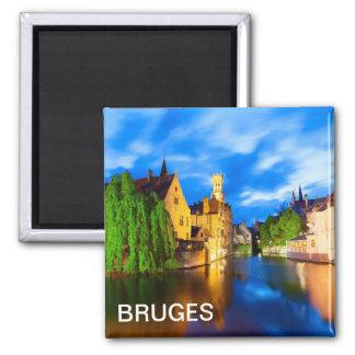 Sonnenuntergang in Brügge. Belgien Quadratischer Magnet