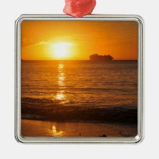 Sonnenuntergang in Copacabana, Brasilien Silbernes Ornament