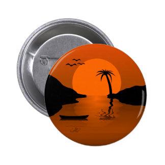 Sonnenuntergang in den Paradies-Inseln und in den Runder Button 5,7 Cm