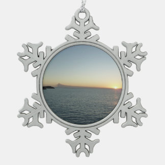 Sonnenuntergang in der Meerblick-Fotografie Schneeflocken Zinn-Ornament