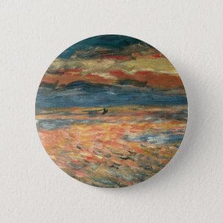 Sonnenuntergang in Meer durch Pierre Renoir, Runder Button 5,7 Cm