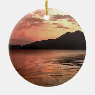 Sonnenuntergang in Meer Keramik Ornament