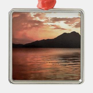 Sonnenuntergang in Meer Silbernes Ornament
