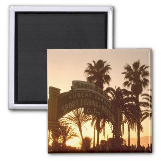 Sonnenuntergang in Santa Monica Magneten Quadratischer Magnet