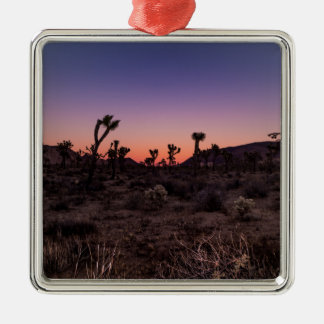 Sonnenuntergang-Joshua-Baum-Nationalpark Quadratisches Silberfarbenes Ornament