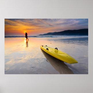 Sonnenuntergang, Kalifornien-Strand USA Poster