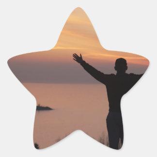 Sonnenuntergang-Klippe Stern-Aufkleber