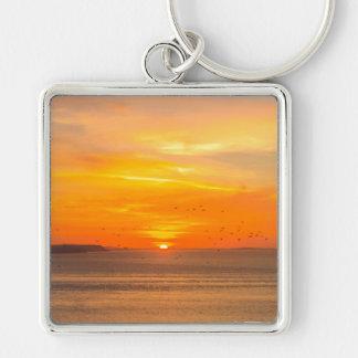Sonnenuntergang-Küste mit orange Sun und Vögeln Schlüsselanhänger