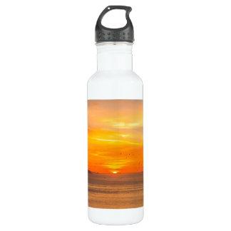 Sonnenuntergang-Küste mit orange Sun und Vögeln Trinkflasche
