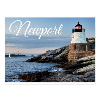 Sonnenuntergang-Leuchtturm-Postkarte Newports Postkarte