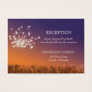 Sonnenuntergang-Löwenzahn-Hochzeits-Empfang Visitenkarte