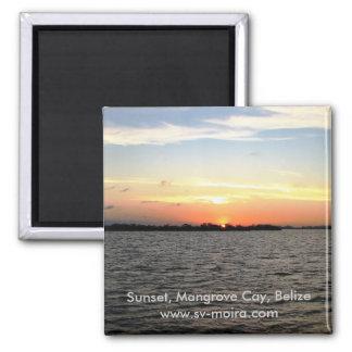 Sonnenuntergang, MangroveCay, Belize Quadratischer Magnet