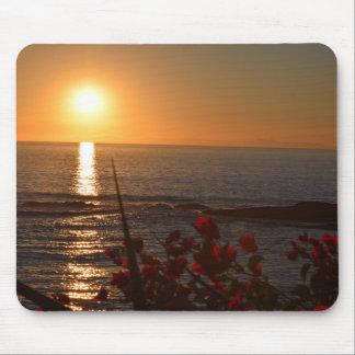Sonnenuntergang mit Blumen mousepad