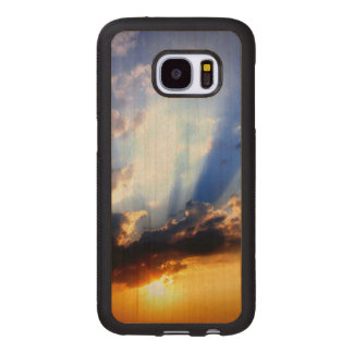 Sonnenuntergang mit Wolken, schöner Himmel Samsung Galaxy S7 Holzhülle