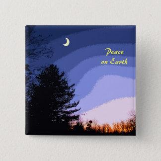 Sonnenuntergang-Mond Quadratischer Button 5,1 Cm