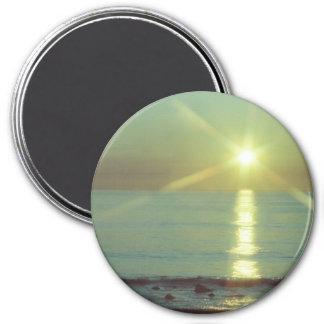 """Sonnenuntergang-Ozean"" 3"" runder Magnet"