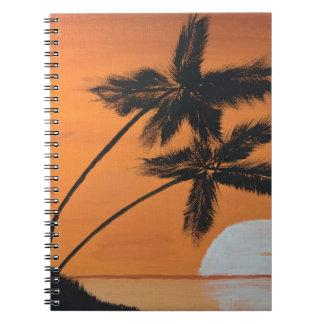 Sonnenuntergang-Palmen-gewundenes Notizbuch Spiral Notizblock