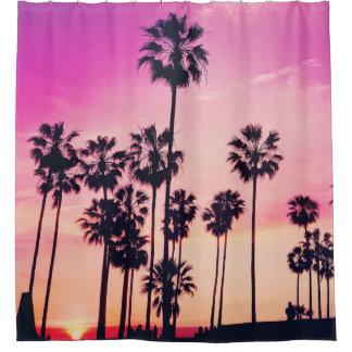 Sonnenuntergang-Palmen-lila tropischer Himmel Duschvorhang