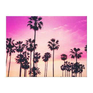 Sonnenuntergang-Palmen-lila tropischer Himmel Leinwanddruck