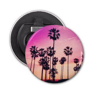 Sonnenuntergang-Palmen-lila tropischer Himmel Runder Flaschenöffner