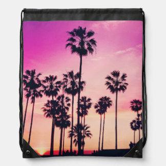 Sonnenuntergang-Palmen-lila tropischer Himmel Turnbeutel