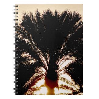 Sonnenuntergang-Palmen Spiral Notizblock