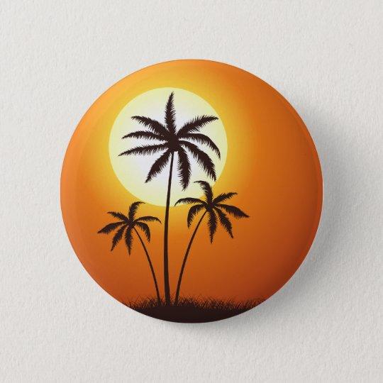 Sonnenuntergang Palmen sunset palms Runder Button 5,7 Cm