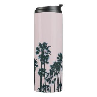 Sonnenuntergang-Palmen und Kaffee Thermosbecher