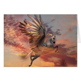 "Sonnenuntergang-Pegasus-Karte 5"" x 7"" weißer Karte"