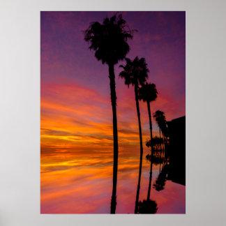 Sonnenuntergang-Plakat mit Palmen 20X28 Poster