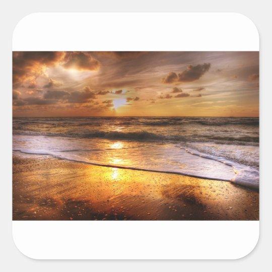 Sonnenuntergang Quadratischer Aufkleber