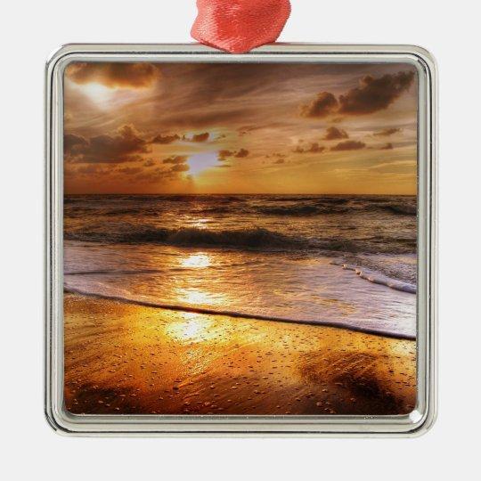 Sonnenuntergang Quadratisches Silberfarbenes Ornament