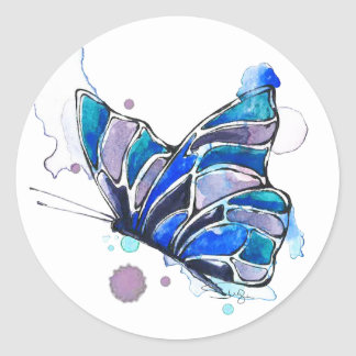 Sonnenuntergang-Schmetterlings-Aquarell Runder Aufkleber
