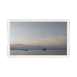 Sonnenuntergang-Seeboots-kundenspezifischer Acryl Tablett