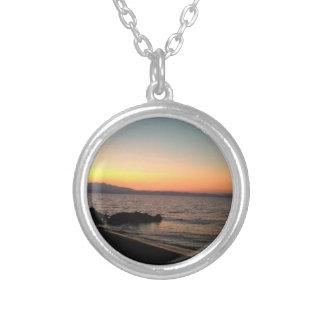Sonnenuntergang-SeeFoto-Silber überzogen ringsum Versilberte Kette