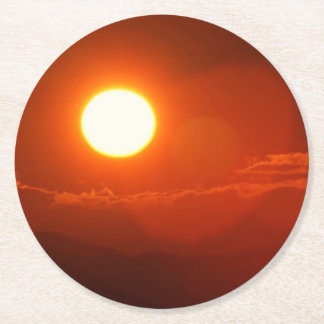 Sonnenuntergang-Sonnenschein-Power-Energie-Quelle Runder Pappuntersetzer