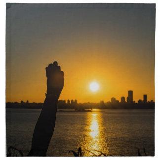 Sonnenuntergang-Stadtbild-Szene, Montevideo, Serviette