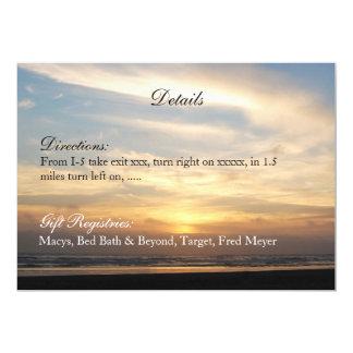 Sonnenuntergang-Strand-Hochzeit führt 12,7 X 17,8 Cm Einladungskarte