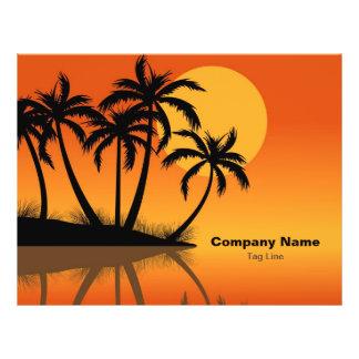 Sonnenuntergang-Strand-tropische Palme-Flyer 21,6 X 27,9 Cm Flyer