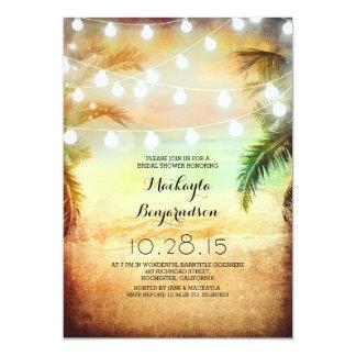 Sonnenuntergang-Strand u. Schnur-Licht-Brautparty 12,7 X 17,8 Cm Einladungskarte