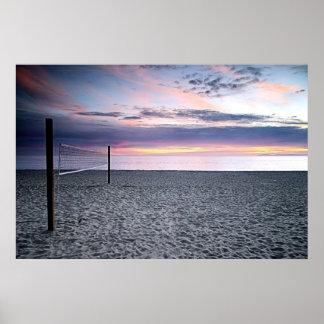 Sonnenuntergang-Strand-Volleyball-Druck Poster