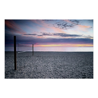 Sonnenuntergang-Strand-Volleyball-Plakat Poster