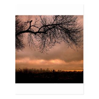 Sonnenuntergang-stumpfe Stadt-Dämmerung Postkarte