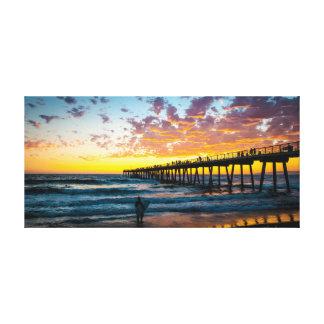 Sonnenuntergang-Surfen Leinwanddruck