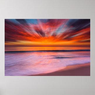 Sonnenuntergang Tamarack Strand   Karlsbad, CA Poster