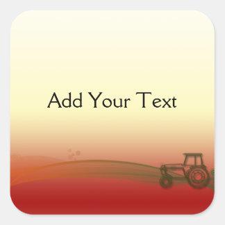 Sonnenuntergang-Traktor-Aufkleber Quadratischer Aufkleber
