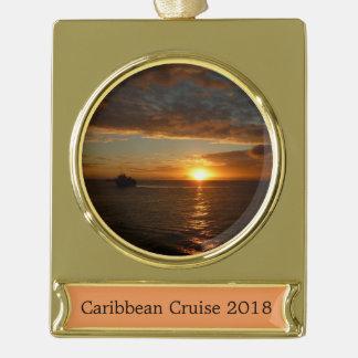 Sonnenuntergang tropischen Meerblick am Meerii Banner-Ornament Gold