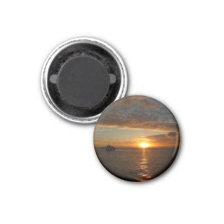 Sonnenuntergang tropischen Meerblick am Meerii Runder Magnet 3,2 Cm